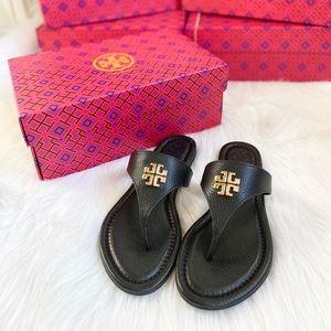 TORY BURCH Jolie Flat Thong Sandals in Black/Gold
